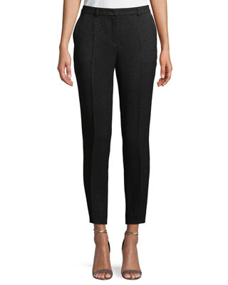 Escada Talas Straight-Leg Metallic-Wool Ankle Pants