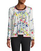 Escada Floral Contrast-Trim Cardigan and Matching Items &