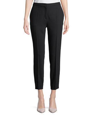Image 1 of 2: Straight-Leg Wool-Blend Ankle Pants