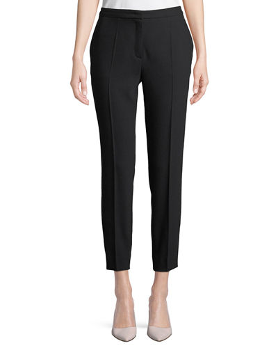 Straight-Leg Wool-Blend Ankle Pants