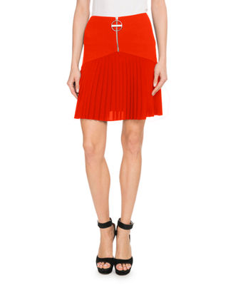 Front-Zip Heavy Wool Crepe Skirt W/ Pleated Bottoms, Red