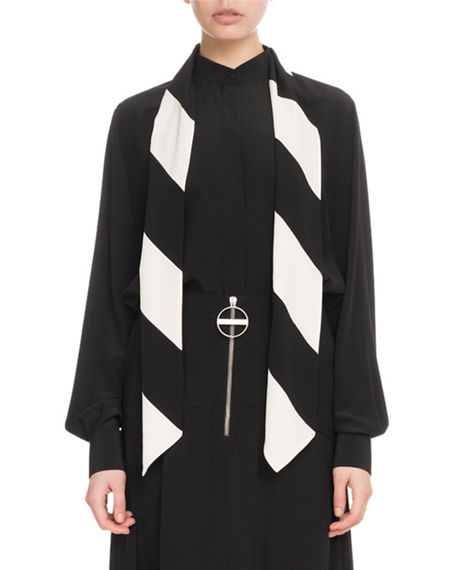 Givenchy Long-Sleeve Button-Front Silk Blouse with Striped