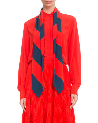 Long-Sleeve Button-Front Silk Blouse With Striped Detachable Scarf, Red