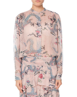 Isabel Marant Long-Sleeve Button-Front Dragon-Print Silk Blouse