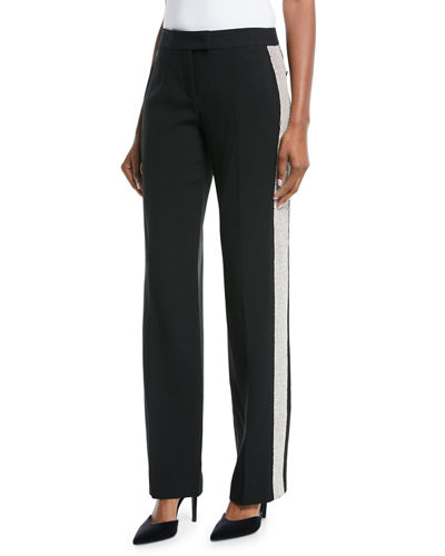 Mid-Rise Straight-Leg Crepe Sable Trousers w/ Crystal Tux Stripe
