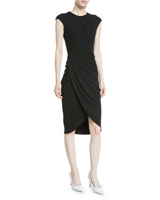 Cap-Sleeve Ruched Stretch Matte Jersey Cocktail Dress in Black