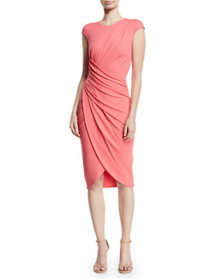 Cap-Sleeve Ruched Stretch Matte Jersey Cocktail Dress in Pink
