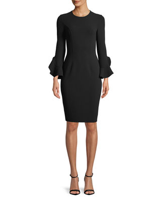 Jewel-Neck Ruffle-Sleeve Stretch-Wool Crepe Sheath Dress, Black