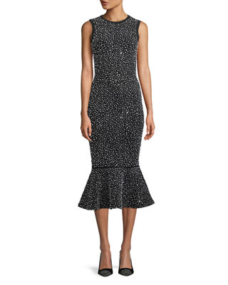 Image 1 of 3: Sleeveless Crystal-Embroidered Stretch-Viscose Trumpet Cocktail Dress