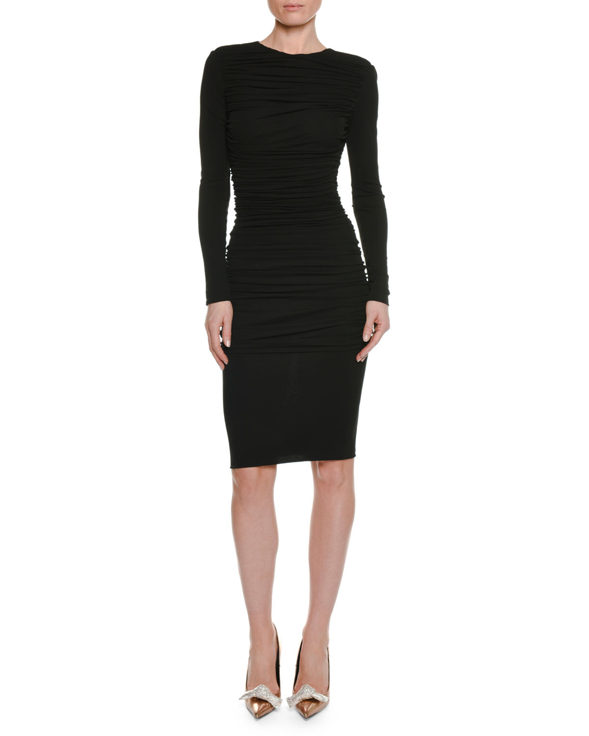 6d8d7444feab01 TOM FORD Long-Sleeve Ruched Viscose-Crepe Pencil Dress
