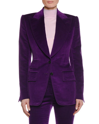 Two-Button Peak-Lapel Velvet Blazer