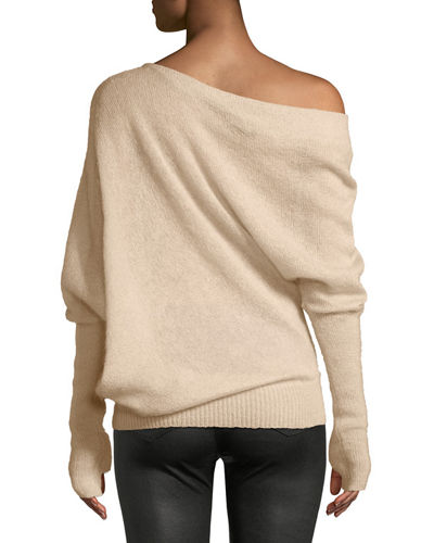 One-Shoulder Long-Sleeve Mohair-Silk Sweater w/ Thumbholes