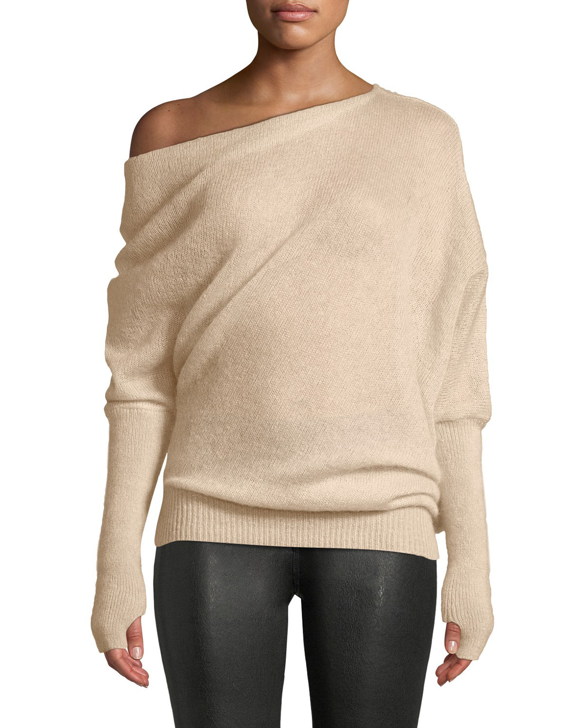 0576d7d207 TOM FORD One-Shoulder Long-Sleeve Mohair-Silk Sweater w  Thumbholes ...