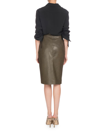 Garcia Ruched Long-Sleeve Asymmetric Button-Front Tunic