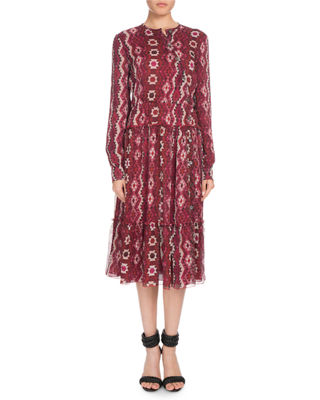 Altuzarra Agadir Asymmetric-Button Long-Sleeve Kilim-Print Silk Dress