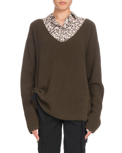 V-Neck Long-Sleeve Side-Ruche Cashmere Sweater