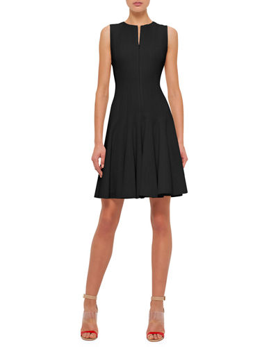 Sleeveless Zip-Front Seamed A-Line Dress