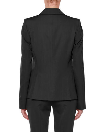 Faux Double-Breasted Tailored Wool Blazer