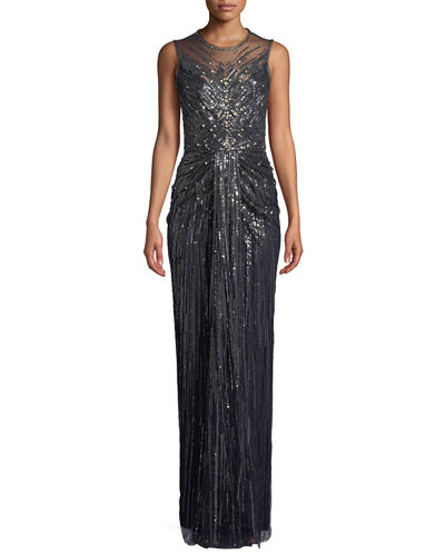 Illusion-Neck Sleeveless Embellished Evening Gown