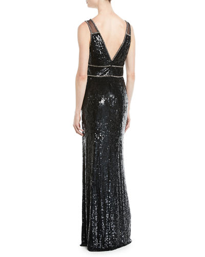 Deep V-Neck Sequin Gown