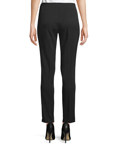 Side-Zip Stretch-Pebble Crepe Narrow-Leg Pants