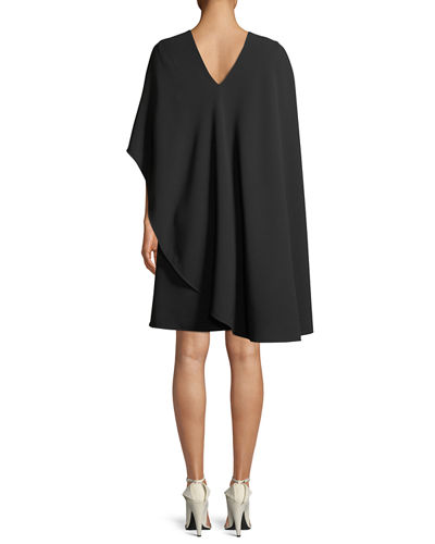 Asymmetric Flowy Silk-Wool Cocktail Dress