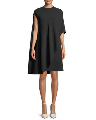 CALVIN KLEIN 205W39NYC Asymmetric Flowy Silk-Wool Cocktail Dress