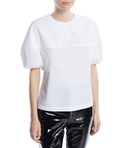 Crewneck Balloon-Sleeve Cotton Poplin Top