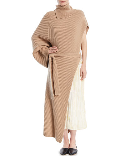 Turtleneck One-Sleeve Chunky Rib Cashmere Wrap Tunic