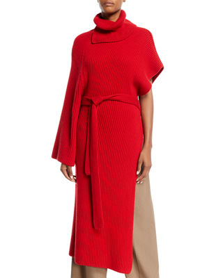 ROSETTA GETTY Turtleneck One-Sleeve Chunky Rib Cashmere Wrap Tunic in Red