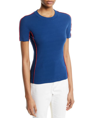 Rosetta Getty Crewneck Short-Sleeve Reverse Seam Cotton Jersey
