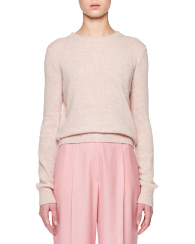 Minco Crewneck Long-Sleeve Cashmere-Silk Top
