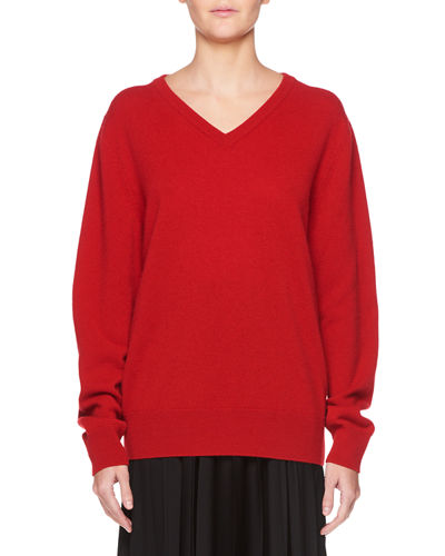 THE ROW Maley V-Neck Long-Sleeve Cashmere-Blend Sweater and