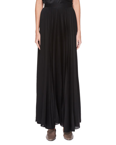 Vailen Pleated Satin Maxi Skirt