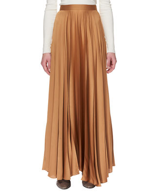 Vailen Pleated Crepe De Chine Maxi Skirt in Brown