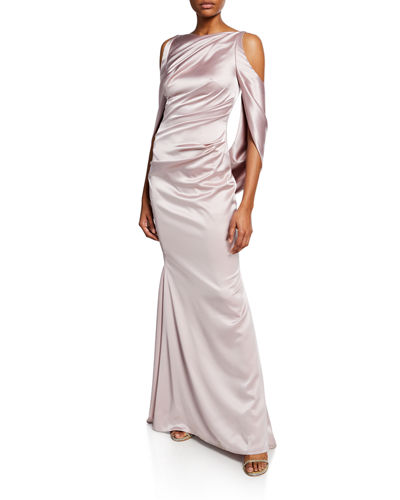 Ponceau High-Neck Draped Bodice Shiny & Matte Crepe Satin Evening Gown