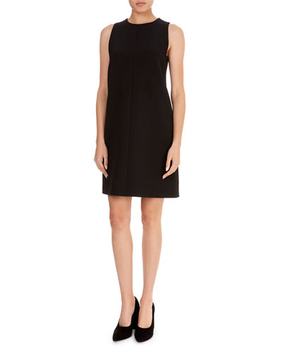 Sleeveless Round-Neck A-Line Wool-Crepe Skimmer Dress
