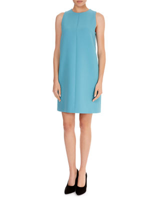 VICTORIA VICTORIA BECKHAM Sleeveless Round-Neck A-Line Wool-Crepe Skimmer Dress in Turqoise