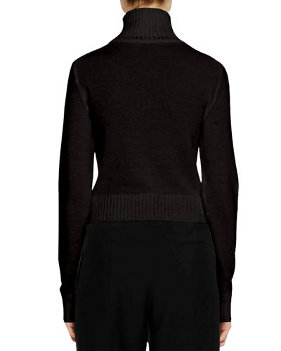 Turtleneck Button-Front Wool-Blend Cardigan