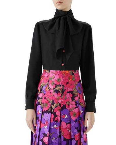 Gucci Long-Sleeve Neck-Bow Silk Crepe de Chine Blouse