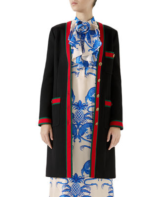 Gucci Single-Breasted Web-Trim 3-Pocket Wool Coat and Matching