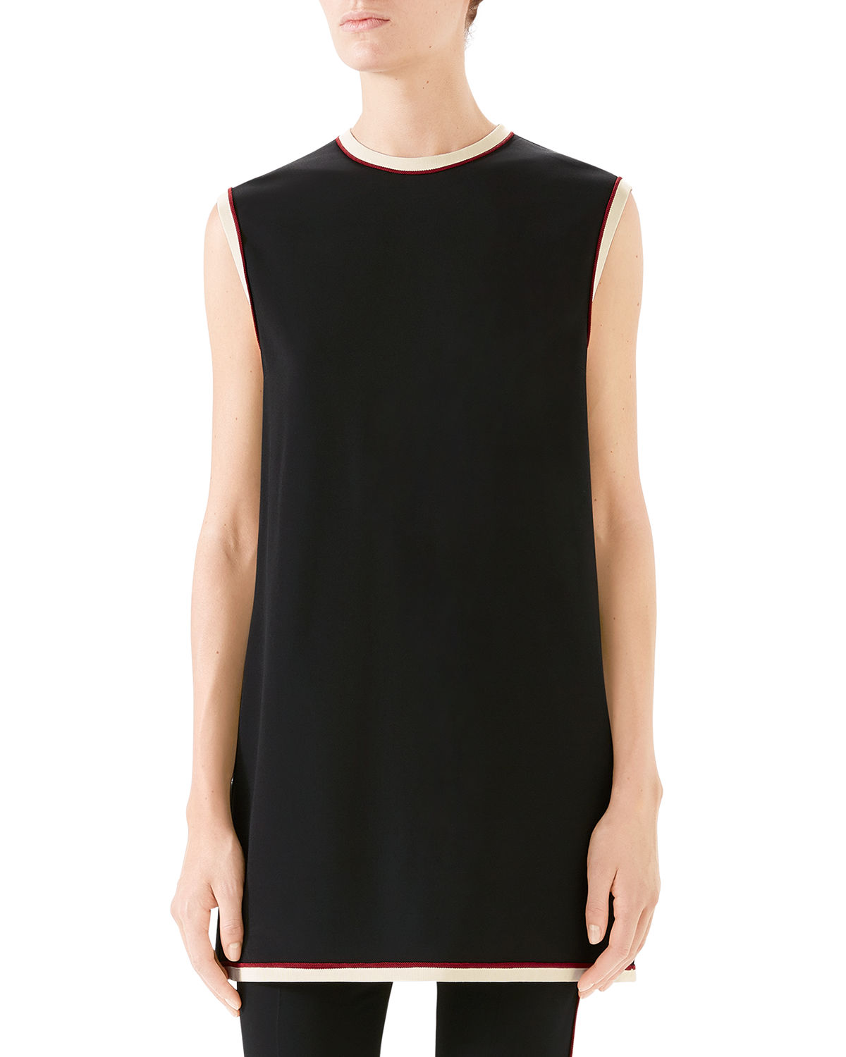 3535581e Gucci Sleeveless Crewneck Cady-Stretch Tunic Top | Neiman Marcus