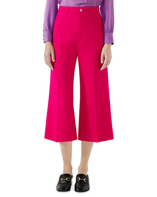 Wide-Leg Cady Stretch Crop Culotte Pants in Pink