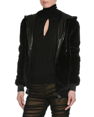 Zip-Front Faux-Shearling Jacket
