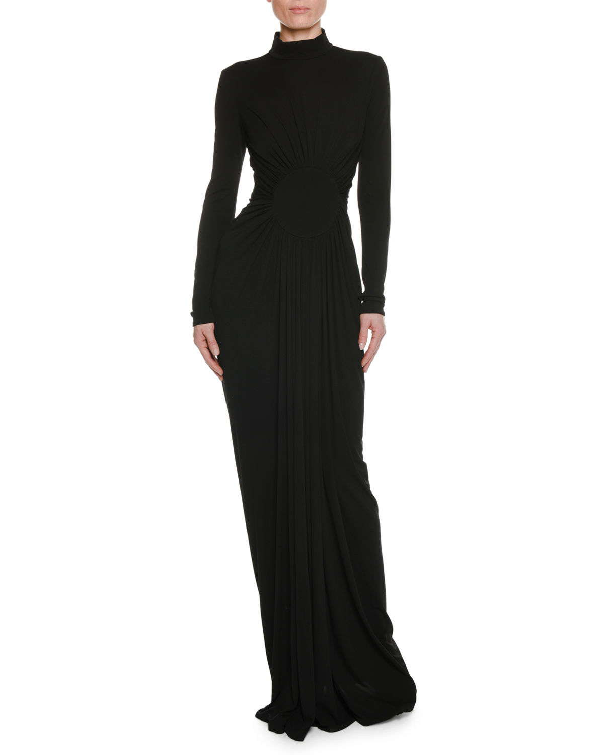 TOM FORD Long-Sleeve Turtleneck Shirred Circle-Center Evening Gown ...