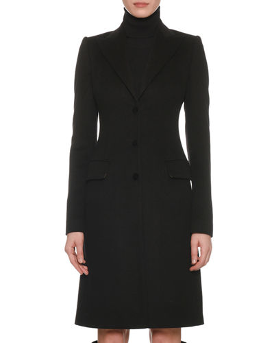 Dolce & Gabbana Peak-Lapel Three-Button 3/4-Length Coat and