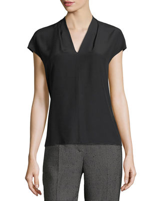 Netal Silk Cap-Sleeve Top