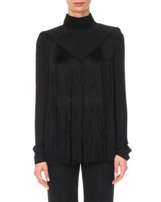 Fringed Silk Crepe De Chine Turtleneck Blouse, Black