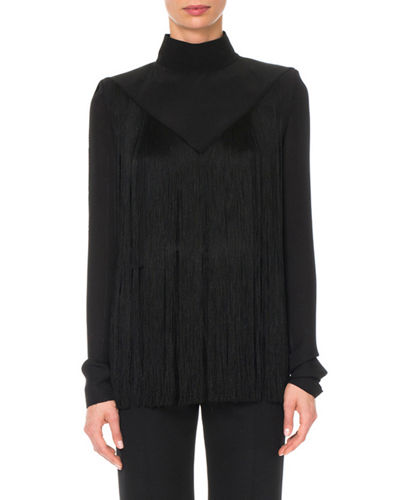 Long-Sleeve Mock-Neck Fringe Silk Blouse