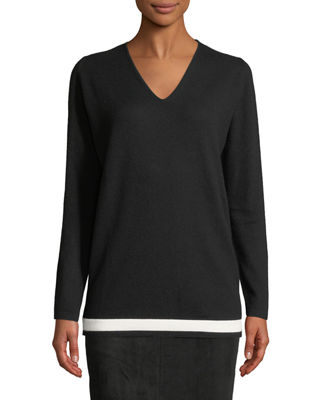 Escada V-Neck Wool-Cashmere Pullover with Contrast Hem